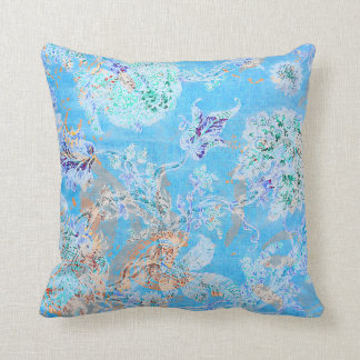 Cute blue pastel floral throw pillow