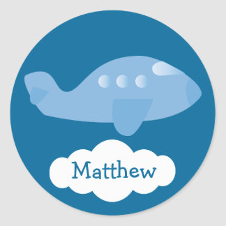 Cute Blue Personalized Plane Cloud Stickers