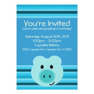 Cute Blue Pig Striped Birthday Party Invitations