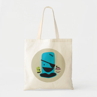 CUTE BLUE PIRATE MONTSTER WITH HIS MONSTER FRIENDS CANVAS BAGS