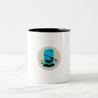 CUTE BLUE PIRATE MONTSTER WITH HIS MONSTER FRIENDS MUG
