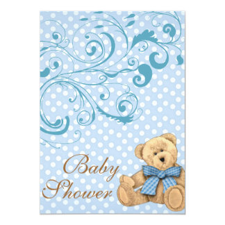 Cute Blue Polka Dots BaBy Shower Invitation