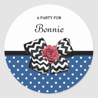 Cute Blue Polka Dots Red Rose Chevron Bow and Name Classic Round Sticker