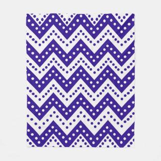 Cute Blue Polkadot Zigzags Fleece Blanket