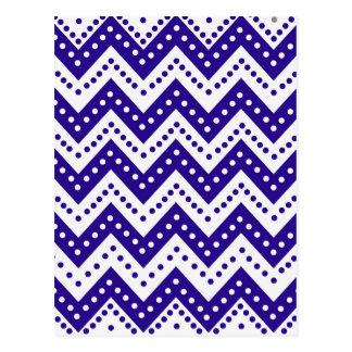 Cute Blue Polkadot Zigzags Postcard