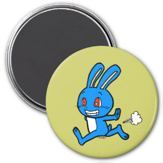 Cute blue rabbit running magnet