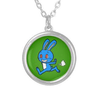 Cute blue rabbit running round pendant necklace