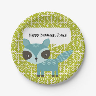 Cute Blue Racoon Personalised Party Plates