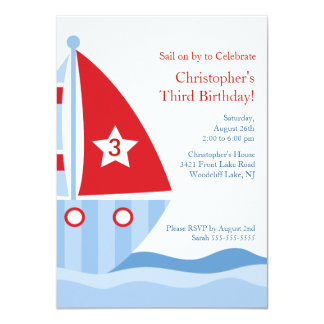 Cute Blue Red SAILBOAT Birthday Party Invitation