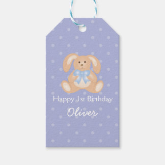 Cute Blue Ribbon Bunny Rabbit First Birthday Party Gift Tags