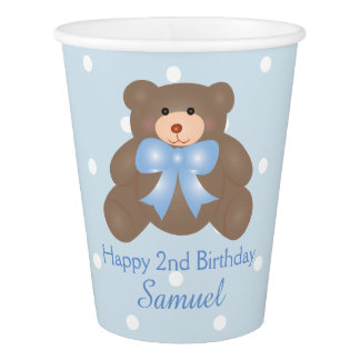 Cute Blue Ribbon Teddy Bear Boy Birthday Party Paper Cup