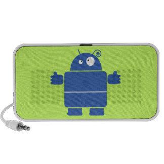 Cute Blue Robot Doodle Speakers