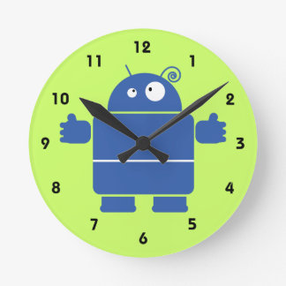 Cute Blue Robot Round Clock