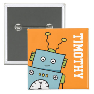 Cute Blue Robot with Personalised Name 15 Cm Square Badge