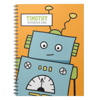 Cute Blue Robot with Personalised Name Notebook