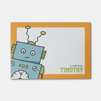Cute Blue Robot with Personalised Name Post-it Notes