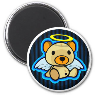 Cute blue teddy bear angel magnet