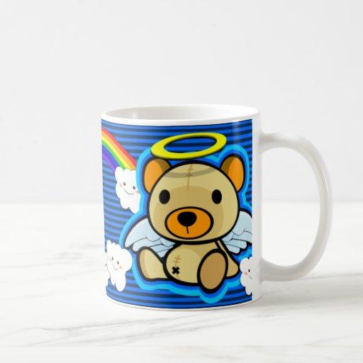 Cute blue teddy bear angel mug