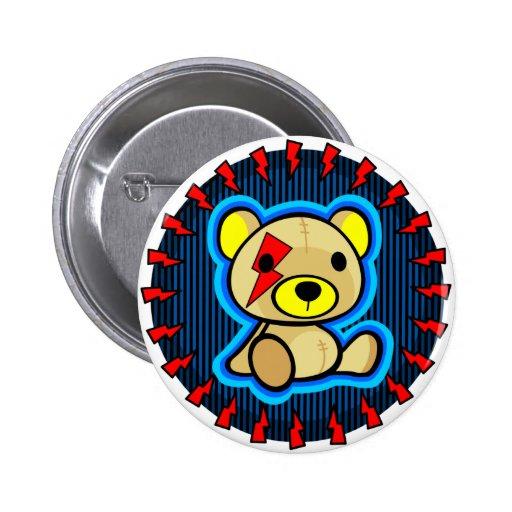 cute blue teddy bear in rock style button