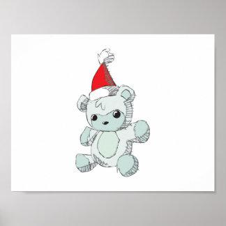 Cute Blue Teddy Bear Red Santa Hat Clock Wrapper Poster