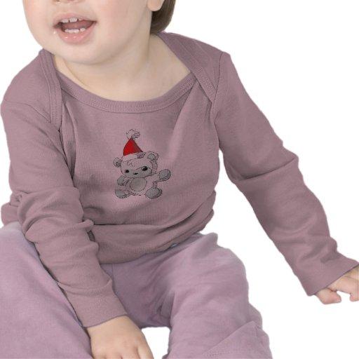 Cute Blue Teddy Bear Red Santa Hat Kids Tee Shirts