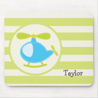 Cute Blue Toy Helicopter on Lime Green Stripes Mousepad