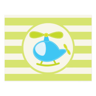 Cute Blue Toy Helicopter on Lime Green Stripes Post Cards
