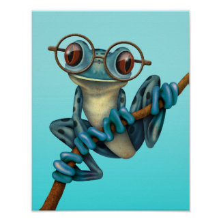 Cute Blue Tree Frog with Eye Glasses Poster