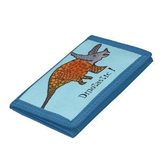 Cute blue triceratops dinosaur kids wallet