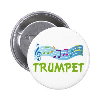 Cute Blue Trumpet Staff Buttons