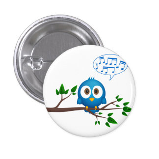 Cute blue twitter bird cartoon 3 cm round badge