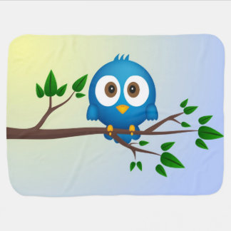 Cute blue twitter bird cartoon baby swaddle blankets