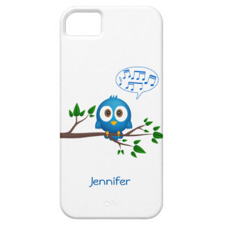 Cute blue twitter bird cartoon barely there iPhone 5 case