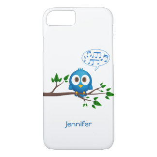 Cute blue twitter bird cartoon iPhone 7 case