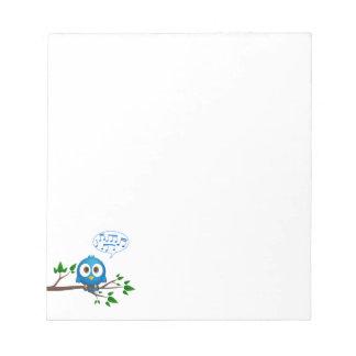 Cute blue twitter bird cartoon notepads