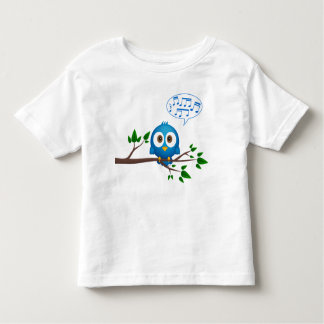 Cute blue twitter bird singing cartoon toddler T-Shirt