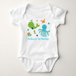 Cute Blue Under The Sea Birthday Baby Bodysuit