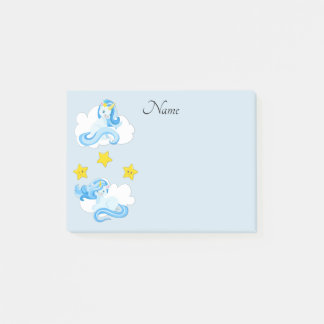 Cute Blue Unicorns and Yellow Stars Personalized Post-it Notes