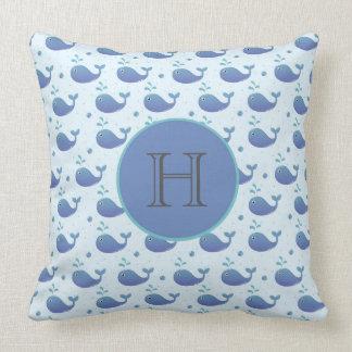 Cute Blue Whale Monogram Pillow