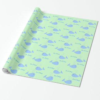Cute Blue Whale with Spout It's A Baby Boy Shower Wrapping Paper