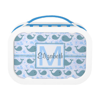 Cute Blue Whales Monogram Pattern Lunch Box