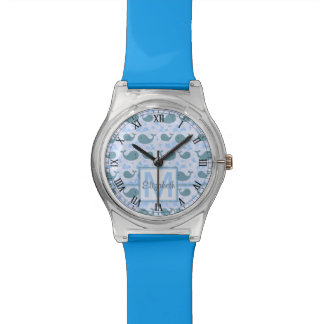 Cute Blue Whales Monogram Pattern Watch