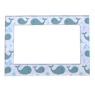 Cute Blue Whales Pattern Magnetic Picture Frame