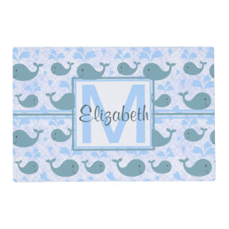Cute Blue Whales Pattern Monogram Laminated Place Mat