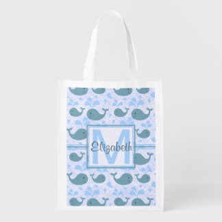Cute Blue Whales Pattern Monogram Reusable Grocery Bag