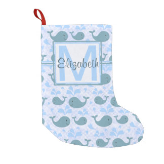 Cute Blue Whales Pattern Monogram Small Christmas Stocking