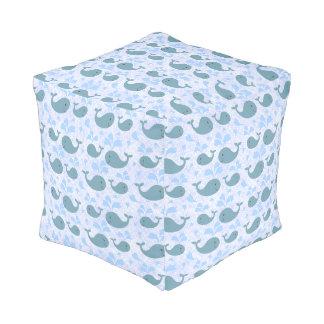 Cute Blue Whales Pattern Pouf