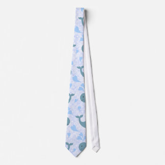 Cute Blue Whales Pattern Tie