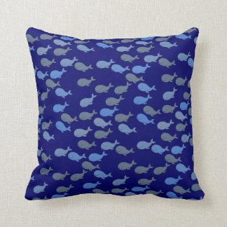 cute blue whales, sea pattern throw cushion