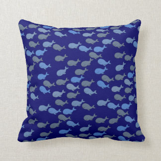 cute blue whales, sea pattern throw pillow